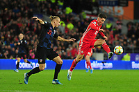 Domagoj Vida of Croatia battles with Harry Wilson of Wales during the UEFA Euro 2020 Qualifier between Wales and Croatia at the Cardiff City Stadium in Cardiff, Wales, UK. Sunday 13 October 2019