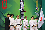 (L to R)  Takeshi Ogawa, Mai Tateyama, Haruka Tachimoto, Kana Abe, Nae Udaka, Yuki Hashimoto (JPN), .April 21, 2013 - Judo : .Asian Judo Championships 2013, Women's Team Competition Final .at Bangkok Youth Centre, Bangkok, Thailand. .(Photo by Daiju Kitamura/AFLO SPORT) [1045]