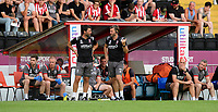 Lincoln City manager Danny Cowley, left, and Lincoln City's assistant manager Nicky Cowley<br /> <br /> Photographer Chris Vaughan/CameraSport<br /> <br /> Football Pre-Season Friendly - Lincoln City v Stoke City - Wednesday July 24th 2019 - Sincil Bank - Lincoln<br /> <br /> World Copyright © 2019 CameraSport. All rights reserved. 43 Linden Ave. Countesthorpe. Leicester. England. LE8 5PG - Tel: +44 (0) 116 277 4147 - admin@camerasport.com - www.camerasport.com