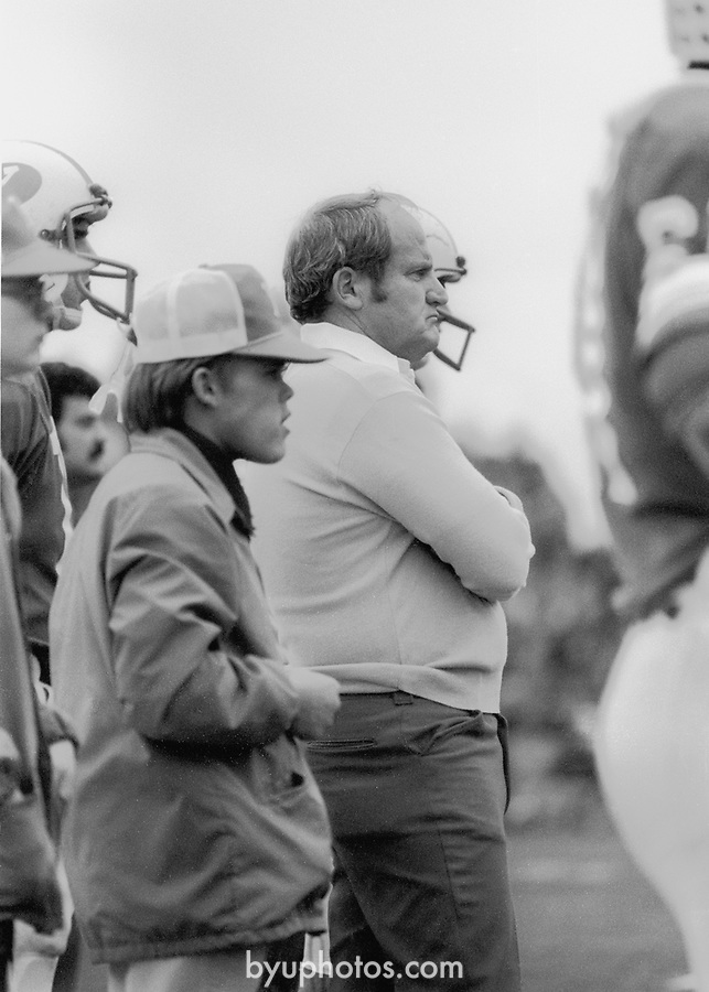 FTB 207 D 29<br /> <br /> Photos of Lavell Edwards. 1979 BYU vs Utah.<br /> <br /> photography by Mark Philbrick/BYU<br /> <br /> Copyright BYU Photo 2009<br /> All Rights Reserved<br /> photo@byu.edu<br /> 801-422-7322