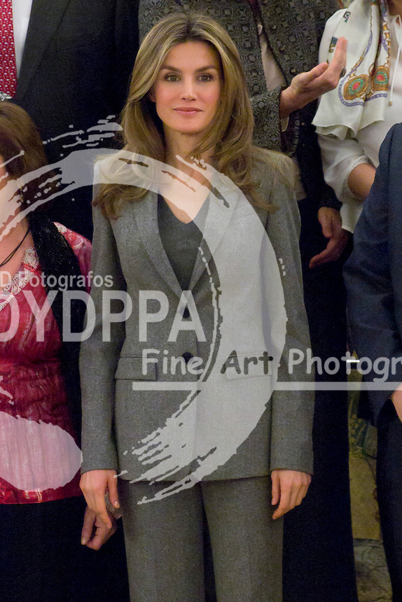 10.01.2013. Zarzuela Palace. Madrid. Spain. Princess Letizia of Spain attends hearing with to a representation of the Association of cozy under-the Community of Madrid. In the picture: Princess Letizia. (C) Ivan L. Naughty / DyD Fotografos//