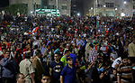 Supporters of Egypt celebrate after the 2018 FIFA World Cup qualification match between Egypt and Congo, in Cairo, Egypt, Oct. 8, 2017. Egypt won 2-1 and qualified to the World Cup finals. Photo by Stringer