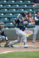 Kyle Isbel (6) of the Wilmington Blue Rocks follows through on his swing against the Winston-Salem Warthogs at BB&T Ballpark on July 17, 2019 in Winston-Salem, North Carolina. The Blue Rocks defeated the Warthogs 4-1. (Brian Westerholt/Four Seam Images)