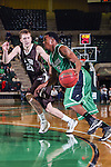 North Texas Mean Green guard Chris Jones (5) and Lehigh Mountain Hawks forward Holden Greiner (20) in action during the game between the Lehigh Mountain Hawks and the North Texas Mean Green at the Super Pit arena in Denton, Texas. Lehigh defeats UNT 90 to 75...