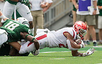 NWA Democrat-Gazette/BEN GOFF @NWABENGOFF<br /> Devwah Whaley, Arkansas running back, stretches for yardage as he gets tackled in the 1st quarter vs Colorado State Saturday, Sept. 8, 2018, at Canvas Stadium in Fort Collins, Colo.