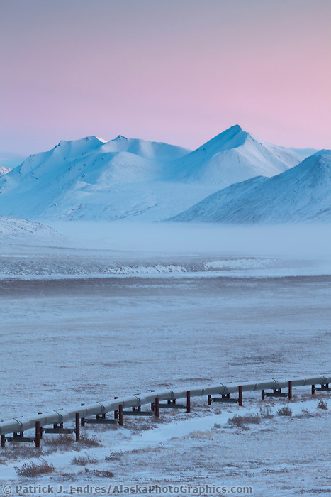Trans Alaska oil pipeline on the north side of atigun pass of the Brooks Range, Arctic Alaska.