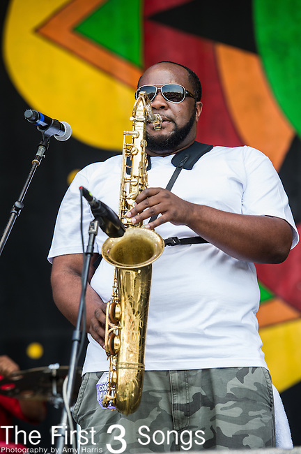 Erion Williams of the Soul Rebels performs during the New Orleans Jazz & Heritage Festival in New Orleans, LA.