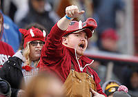 Arkansas Democrat-Gazette/THOMAS METTHE -- 11/29/2019 --<br /> Arkansas fans cheer on the Hogs during the fourth quarter of the Razorbacks' 24-14 loss to Missouri on Friday, Nov. 29, 2019, at War Memorial Stadium in Little Rock.