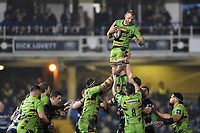 Ben Nutley of Northampton Saints wins the ball at a lineout. Anglo-Welsh Cup Semi Final, between Bath Rugby and Northampton Saints on March 9, 2018 at the Recreation Ground in Bath, England. Photo by: Patrick Khachfe / Onside Images