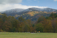 Fall morning view looking southeast from Forge Creek Road in Cades Cove, Great Smoky Mountains National Park