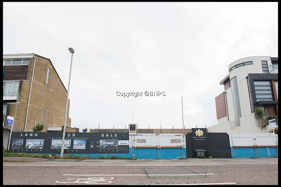 BNPS.co.uk (01202 558833)<br /> Pic: LauraDale/BNPS<br /> <br /> Boarded up: The front of the plot, on Banks road.<br /> <br /> A narrow empty plot of land in the world-renowned Sandbanks area is on the market for &pound;6.25million.<br /> <br /> The piece of land is worth &pound;2m more now its empty than it was when the owner bought it with two semi-detached houses on it.<br /> <br /> The area in Dorset, often called Millionaire's Row, is said to be the fourth most expensive place in the world to live and this plot is one of the few left to redevelop.