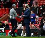 Jose Mourinho manager of Manchester United greets former manger now MUTV pundit Ron Atkinson during the English Premier League match at the Old Trafford Stadium, Manchester. Picture date: May 21st 2017. Pic credit should read: Simon Bellis/Sportimage