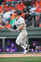 Right fielder Jacob Olson (7) of the South Carolina Gamecocks bats in the Reedy River Rivalry game against the Clemson Tigers on Saturday, March 3, 2018, at Fluor Field at the West End in Greenville, South Carolina. Clemson won, 5-1. (Tom Priddy/Four Seam Images)