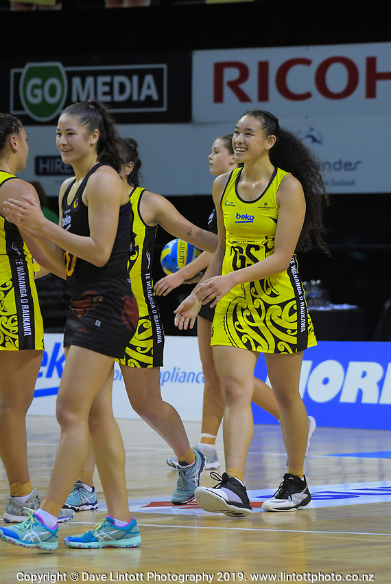 Saviour Tui is all smiles after scoring the winning goal on fulltime during the Beko Netball League match between Central Manawa and Waikato Bay Of Plenty at TSB Bank Arena in Wellington, New Zealand on Sunday, 21 April 2019. Photo: Dave Lintott / lintottphoto.co.nz