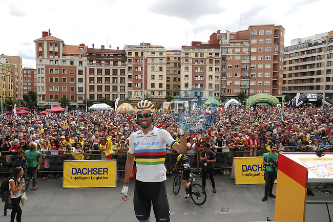 World Champion Alejandro Valverde (ESP) Movistar Team at sign on before the start of Stage 13 of La Vuelta 2019 starting in Athletic Club Bilbao's Estadio de San Mames and running 166.4km from Bilbao to Los Machucos, Spain. 6th September 2019.<br /> Picture: Luis Angel Gomez/Photogomezsport | Cyclefile<br /> <br /> All photos usage must carry mandatory copyright credit (© Cyclefile | Luis Angel Gomez/Photogomezsport)
