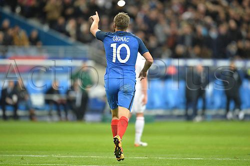 29.03.2016. Stade de France, Paris, France. International football friendly. France versus Russia.  ANDRE PIERRE GIGNAC celebrates his goal for France
