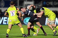 Matt Gallagher of Saracens takes on the Leicester Tigers defence. Anglo-Welsh Cup match, between Saracens and Leicester Tigers on February 5, 2017 at Allianz Park in London, England. Photo by: Patrick Khachfe / JMP