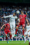 Sergio Ramos (L) of Real Madrid fights for the ball with  Thomas Muller of FC Bayern Munich during the UEFA Champions League Semi-final 2nd leg match between Real Madrid and Bayern Munich at the Estadio Santiago Bernabeu on May 01 2018 in Madrid, Spain. Photo by Diego Souto / Power Sport Images