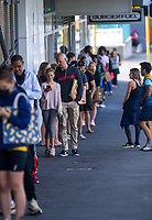 The queue for Countdown Newtown Supermarket during lockdown for COVID19 pandemic in Wellington, New Zealand on Thursday, 9 April 2020. Photo: Dave Lintott / lintottphoto.co.nz