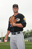 Akron RubberDucks pitcher Cody Anderson (40) prior to game against the Trenton Thunder at ARM & HAMMER Park on July 14, 2014 in Trenton, NJ.  Akron defeated Trenton 5-2.  (Tomasso DeRosa/Four Seam Images)