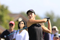 Lexi Thompson (USA) tees off the 6th tee during Thursday's Round 1 of The Evian Championship 2018, held at the Evian Resort Golf Club, Evian-les-Bains, France. 13th September 2018.<br /> Picture: Eoin Clarke | Golffile<br /> <br /> <br /> All photos usage must carry mandatory copyright credit (&copy; Golffile | Eoin Clarke)
