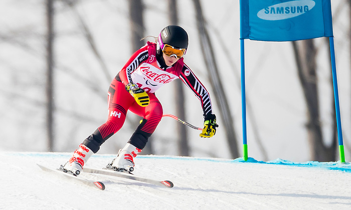 PyeongChang 10/3/2018 - Mel Pemble skis in the women's standing downhill at the Jeongseon Alpine Centre during the 2018 Winter Paralympic Games in Pyeongchang, Korea. Photo: Dave Holland/Canadian Paralympic Committee