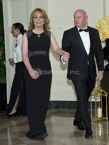 Former United States Representative Gabrielle Giffords (Democrat of Arizona) and Captain Mark Kelly arrive for the State Dinner honoring Prime Minister Lee Hsien Loong of the Republic of Singapore at the White House in Washington, DC on Tuesday, August 2, 2016.<br /> Credit: Ron Sachs / Pool via CNP/MediaPunch