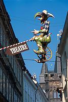Theater-Reklame, Prag, Tschechien, Unesco-Weltkulturerbe