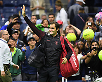 FLUSHING NY- AUGUST 29: Roger Federer Vs Frances Tiafoe at the 2017 US Open Tennis at the USTA Billie Jean King National Tennis Center on August 29, 2017 in Flushing Queens. Credit: mpi04/MediaPunch ***NO NY DAILIES***