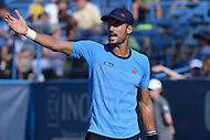 Washington, DC - August 5, 2015: Feliciano Lopez complains to the Chair about a call during a match against Lleyton Hewitt at the Citi Open tennis tournament at the FitzGerald Tennis Center in the District of Columbia, August 5, 2015.  (Photo by Don Baxter/Media Images International)