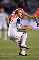 LA Galaxy forward & team Captain Landon Donovan (10) grimaces after being stepped on. The LA Galaxy and Toronto FC played to a 0-0 draw at Home Depot Center stadium in Carson, California on Saturday May 15, 2010.  .