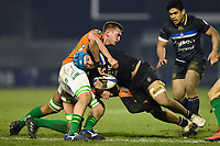 Zach Mercer of Bath Rugby is tackled in possession. European Rugby Champions Cup match, between Benetton Rugby and Bath Rugby on January 20, 2018 at the Municipal Stadium of Monigo in Treviso, Italy. Photo by: Patrick Khachfe / Onside Images