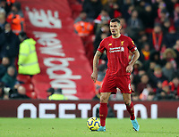 30th November 2019; Anfield, Liverpool, Merseyside, England; English Premier League Football, Liverpool versus Brighton and Hove Albion; Dejan Lovren of Liverpool control the ball and looks up for a team mate - Strictly Editorial Use Only. No use with unauthorized audio, video, data, fixture lists, club/league logos or 'live' services. Online in-match use limited to 120 images, no video emulation. No use in betting, games or single club/league/player publications