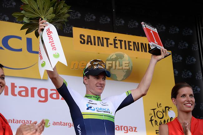Simon Clarke (AUS) Orica GreenEdge wins the combativity prize after Stage 12 of the 2014 Tour de France running 185.5km from Bourg-en-Bresse to Saint Etienne. 17th July 2014.<br /> Photo ASO/X.Bourgois/www.newsfile.ie