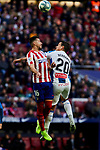 Hector Herrera of Atletico de Madrid and Bernardo Espinosa of RCD Espanyol during La Liga match between Atletico de Madrid and RCD Espanyol at Wanda Metropolitano Stadium in Madrid, Spain. November 10, 2019. (ALTERPHOTOS/A. Perez Meca)