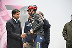 The Prime Minister Giuseppe Conte paid a visit to the Corsa Rosa today, greeting Vincenzo Nibali (ITA) Bahrain-Merida at sign on before Stage 5 of the 2019 Giro d'Italia, running 140km from Frascati to Terracina, Italy. 15th May 2019<br /> Picture: Massimo Paolone/LaPresse | Cyclefile<br /> <br /> All photos usage must carry mandatory copyright credit (© Cyclefile | Massimo Paolone/LaPresse)