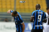A bottle flies while Danilo D'Ambrosio and Romelu Lukaku of FC Internazionale take a break during the Serie A football match between Parma and FC Internazionale at stadio Ennio Tardini in Parma ( Italy ), June 28th, 2020. Play resumes behind closed doors following the outbreak of the coronavirus disease. <br /> Photo Andrea Staccioli / Insidefoto