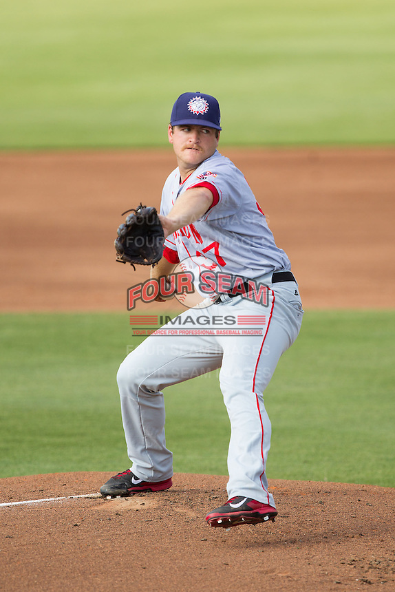 Hagerstown Suns starting pitcher Andrew Cooper (37) in action against the Kannapolis Intimidators at CMC-Northeast Stadium on June 1, 2014 in Kannapolis, North Carolina.  The Suns defeated the Intimidators 11-5 in game two of a double-header.  (Brian Westerholt/Four Seam Images)