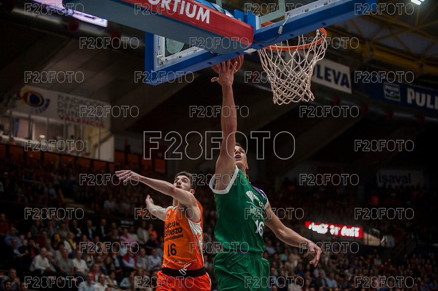 VALENCIA, SPAIN - MARCH 27: Guillem Vives, Nemanja Nedovic during ENDESA LEAGUE Play Off match between Valencia Basket Club and Unicaja at Fonteta Stadium on March, 2016 in Valencia, Spain
