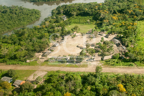 Aldeia Baú, Para State, Brazil. Aerial view of a Kayapo Indian village on the junction of the Curua and Bau rivers.