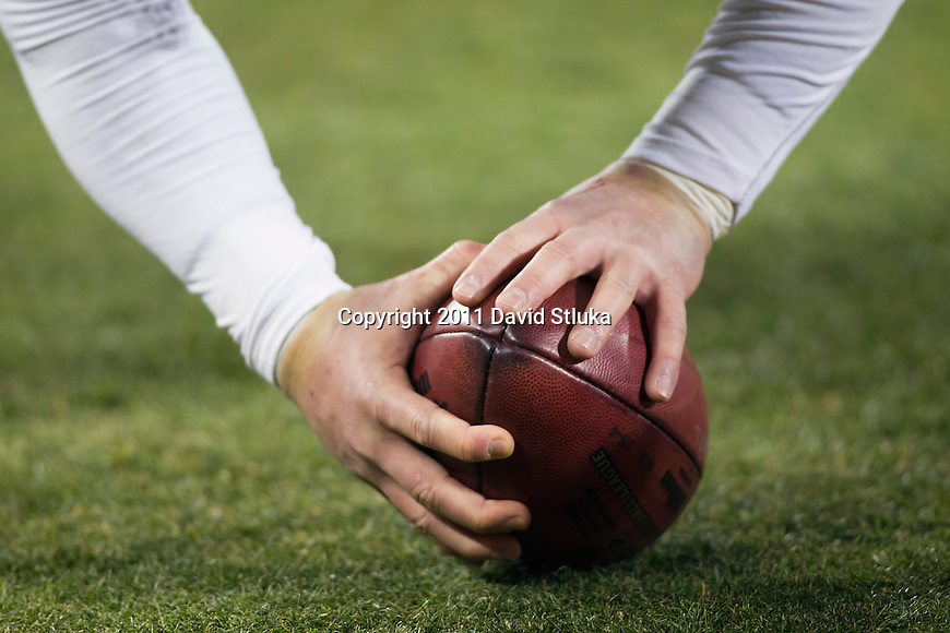 Chicago Bears long snapper Chris Massey (45) warms up on the sideline during a week 16 NFL football game against the Green Bay Packers on December 25, 2011 in Green Bay, Wisconsin. The Packers won 35-21. (AP Photo/David Stluka)