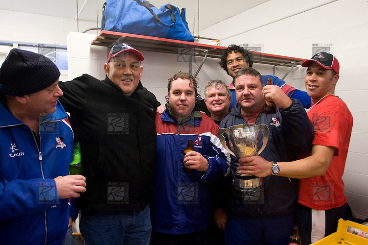 Members of the Ardmore Marist coaching staff pose together with the McNamara cup. CMRFU Counties Power 2008 Club rugby McNamara Cup Premier final between Ardmore Marist & Patumahoe played at Growers Stadium, Pukekohe on July 26th.  Ardmore Marist won 9 - 8.