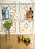 Jardin de Versailles, a waterjet stone mosaic, shown in polished Calacatta Gold and Brass, is part of the Jardins Français™ collection by Caroline Beaupere for New Ravenna.<br />