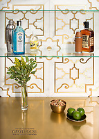 Jardin de Versailles, a waterjet stone mosaic, shown in polished Calacatta Gold and Brass, is part of the Jardins Fran&ccedil;ais&trade; collection by Caroline Beaupere for New Ravenna.<br />