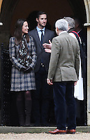 25 December 2016 - Michael Middleton, Pippa Middleton and James Matthews attend a morning Christmas Day service at St Mark's Church in Englefield, Berkshire. Photo Credit: Alpha Press/AdMedia