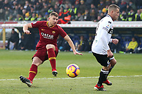 Edin Dzeko of AS Roma and Simone Iacoponi of Parma compete for the ball during the Serie A 2018/2019 football match between Parma and AS Roma at stadio Ennio Tardini, Parma, December, 29, 2018 <br /> Foto Gino Mancini / Insidefoto