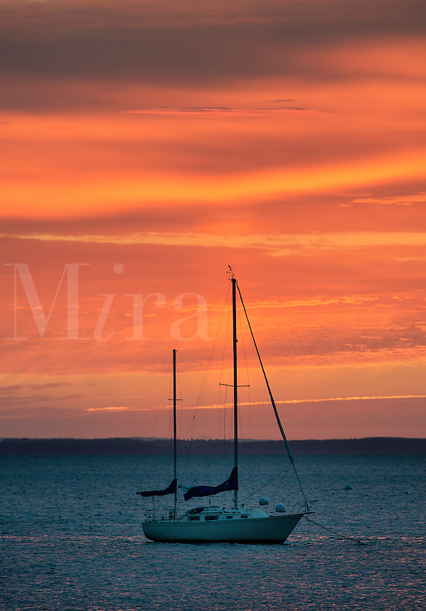 Anchored sailboat at sunrise, Rockland, Maine, USA