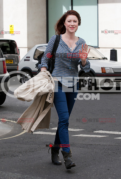 NON EXCLUSIVE PICTURE: MATRIXPICTURES.CO.UK<br /> PLEASE CREDIT ALL USES<br /> <br /> WORLD RIGHTS<br /> <br /> New Zealand singer and songwriter Hayley Westenra is spotted arriving at Radio 2 in London.<br /> <br /> JUNE 23rd 2013<br /> <br /> REF: BMS 134306