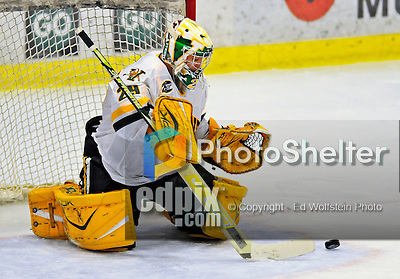 10 January 2009: University of Vermont Catamount goaltender Rob Madore, a Freshman from Venetia, PA, makes a third period save against the Boston College Eagles during the second game of a weekend series at Gutterson Fieldhouse in Burlington, Vermont. The Catamounts rallied from an early 2-0 deficit to defeat the visiting Eagles 4-2. Mandatory Photo Credit: Ed Wolfstein Photo