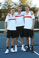 STANFORD, CA - NOVEMBER 16:  Bradley Klahn, Ryan Thacher and Jamie Hutter of the Stanford Cardinal during photo day on November 16, 2009 at the Taube Family Tennis Stadium in Stanford, California.